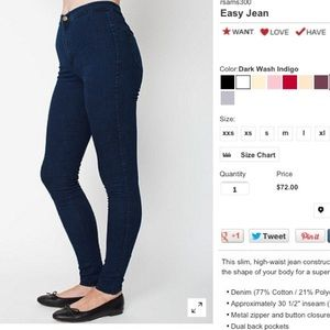 ✴️SOLD✴️American apparel easy jeans XS